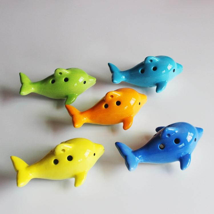 Wholesale Cute 6 Hole Ceramic Dolphin Ocarina Educational toy Musical Instrument Animal Shape(with string)/Great Educational music toys