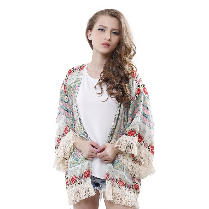 2017 Wholesale Casual Women Kimono Cardigan Vintage Flower Printed ...