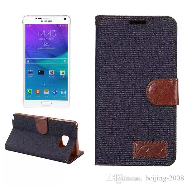 Kot Hakiki Deri Kılıf Samsung Galaxy için S5 S6 S6 Kenar S7 S7 Kenar Not 3 Not 4 Not 5 Kapak Kovboy Cüzdan Standı Kapak