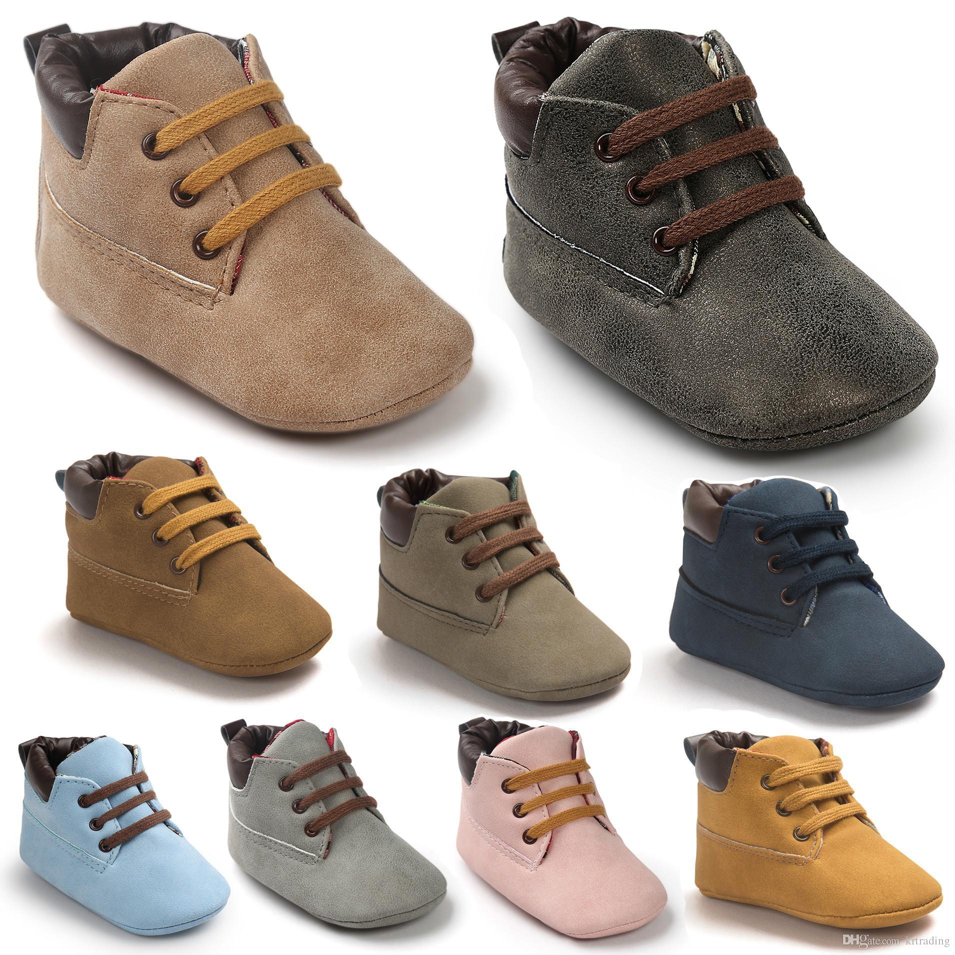 e8450abda5a0b Acheter Baby Soft Sole Lace Up Bottines Bébés Pu Heudauo Chaussures De  Loisirs Bébé Premier Walker Chaussures Chaudes Toddler Chaussures Infant  Winter Boots ...