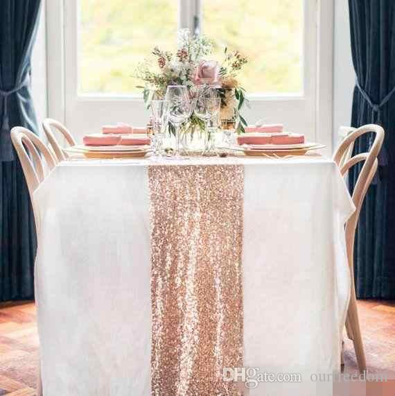 Cheap Rose Gold Bling Bling Sequins Wedding Decorations Table Cloth Glitter Evening Bridesmaid Prom Party Dress Fabric