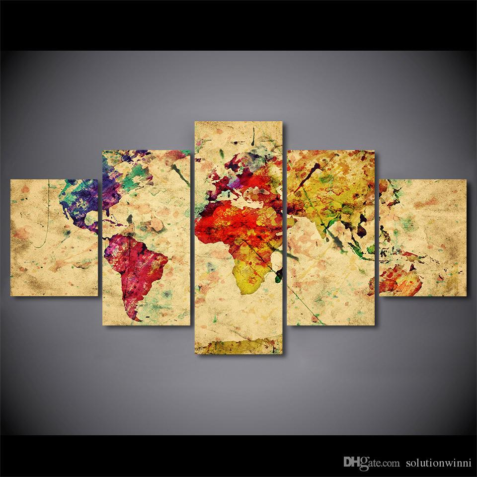 Vintage World Map Art.2019 Vintage World Map Canvas Paintings Home Decor Wall Art Framed