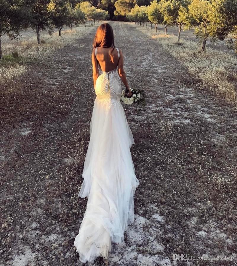 Vintage 2020 da sereia vestidos de noiva V Neck Backless vestidos de noiva Trem da varredura Plus Size Lace País vestido de casamento