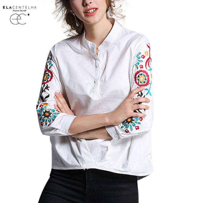 f59c4304ecf00 ElaCentelha Women Shirt Fashion Flower Embroidery Blouse Long Sleeve White  Cotton Shirt Women Tops Casual Blusas Feminina