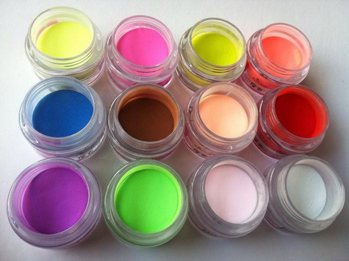 Acrylic Powder 12 Mix Colors Acrylic Nail Art Tips Uv Gel Powder Dust 3d Diy Decoration Set
