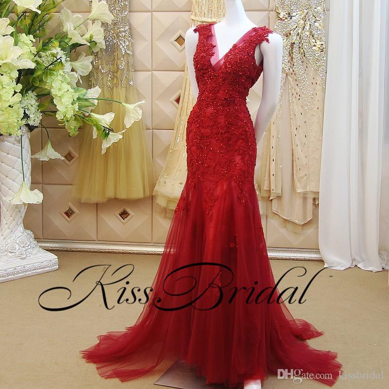 Sereia vermelha Vestidos de Baile robe bal degalajurken Lace Aappliqued Chraming Vestido Pageant Vermelho Para As Mulheres Vestidos de Noite Formais Com Decote Em V