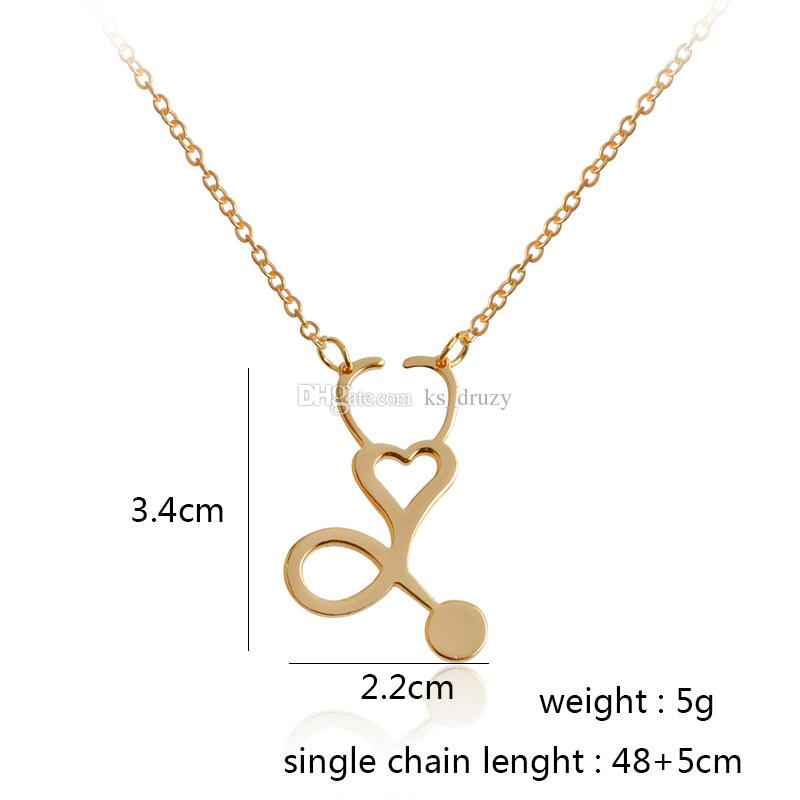 4 styles Rose Gold/Gold/Silver Stethoscope Lariat Heart Pendant Necklace Newest Nurse Medical Nursing Jewelry Medicine Graduation Gift