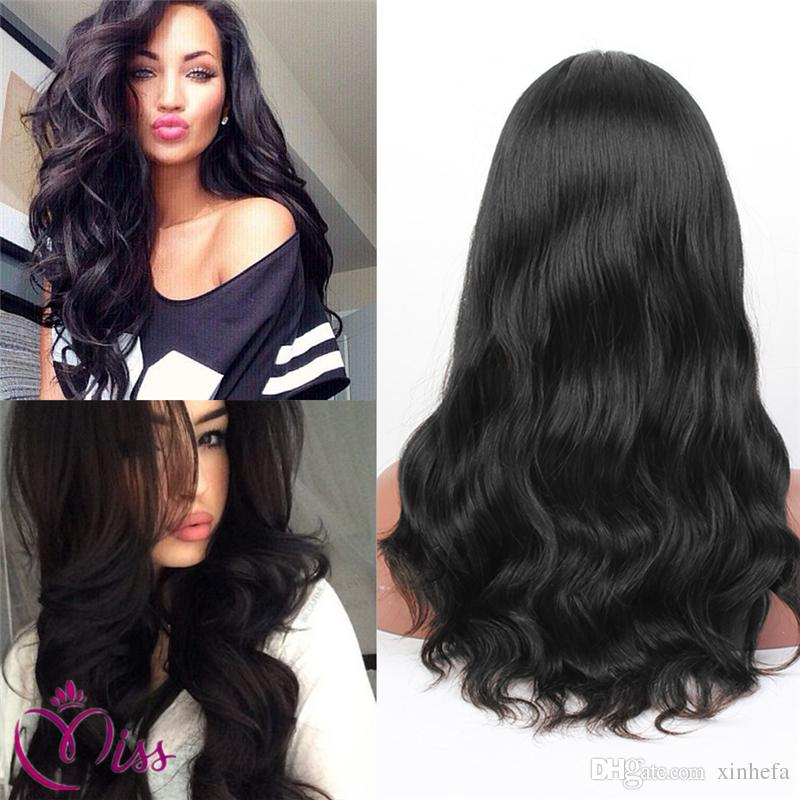 8A lace front wigs human hair body wave side part with thick bangs full lace wig body wave wig glueless for black women