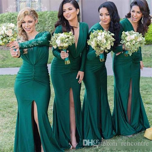 2017 Emerald Green Bridesmaid Dresses Long Sleeves Deep V Neck ...