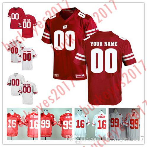 2019 Custom Mens Wisconsin Badgers College Football 16 Wilson 23 Taylor 99  Watt Personalized Stitched Any Name Any Number Jerseys S 3XL From  Buckeyes2017 5cc11ad15