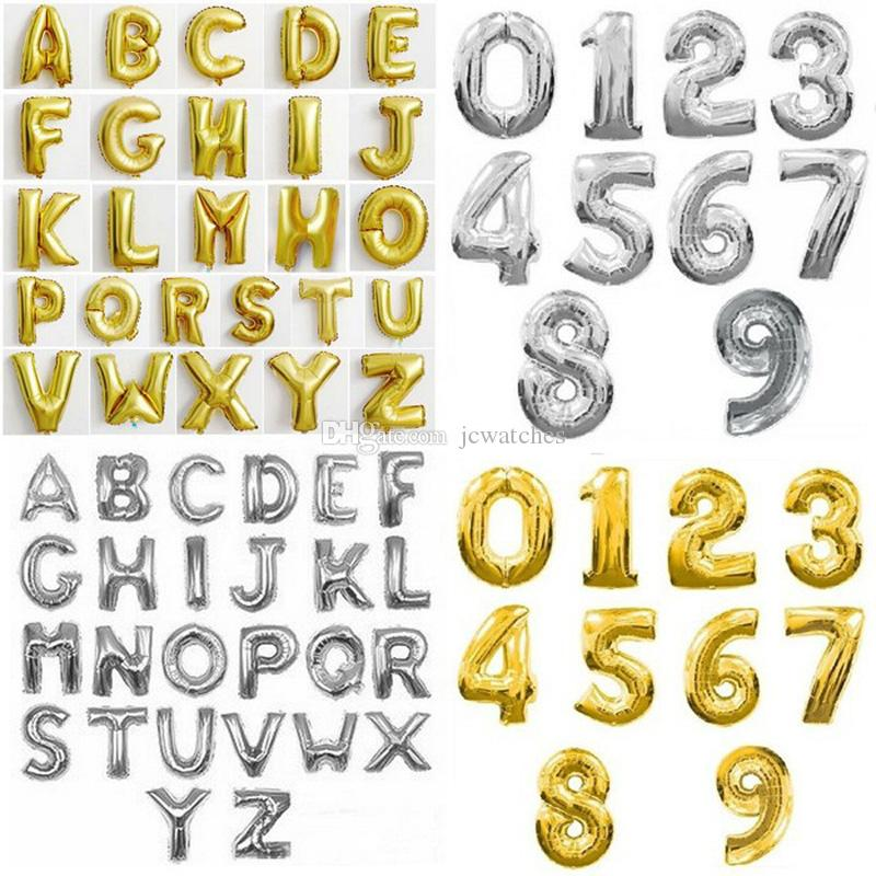 16inch Aluminum Balloons Gold Silver Color Alphabet Letters A-Z and Arabic Number 0-9 Foil Balloon Christmas Birthday Party Decoration