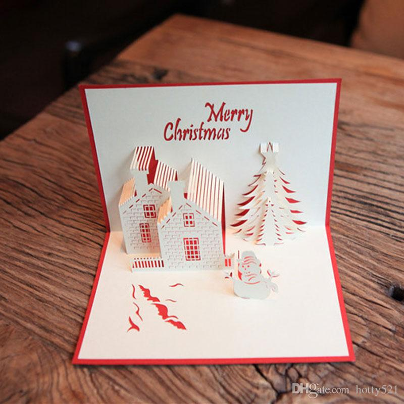 Wholesale Christmas Greeting Cards 3D paper cutting Castle Christmas tree Snowman Postcard blessing cards gift