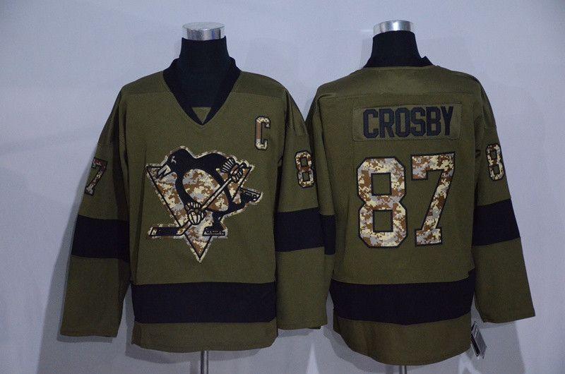 2016 Salut Au Service Armée Vert Sidney Crosby Jersey 87 Maillots De Hockey Sur Glace Penguins De Pittsburgh Mode Pur Coton Cousu Et À Coudre