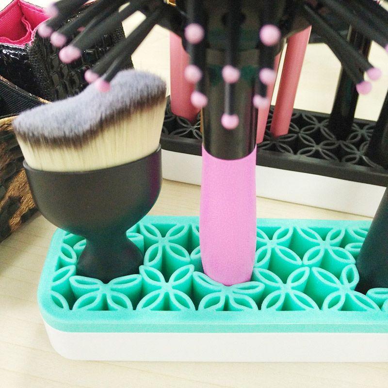 Silicone Cosméticos Organizador Titular da Escova de Maquiagem Prateleira de Secagem Prateleira de Maquiagem Escova de Exposição Suporte para Lápis Escovas Delineador de Armazenamento Livre DHL