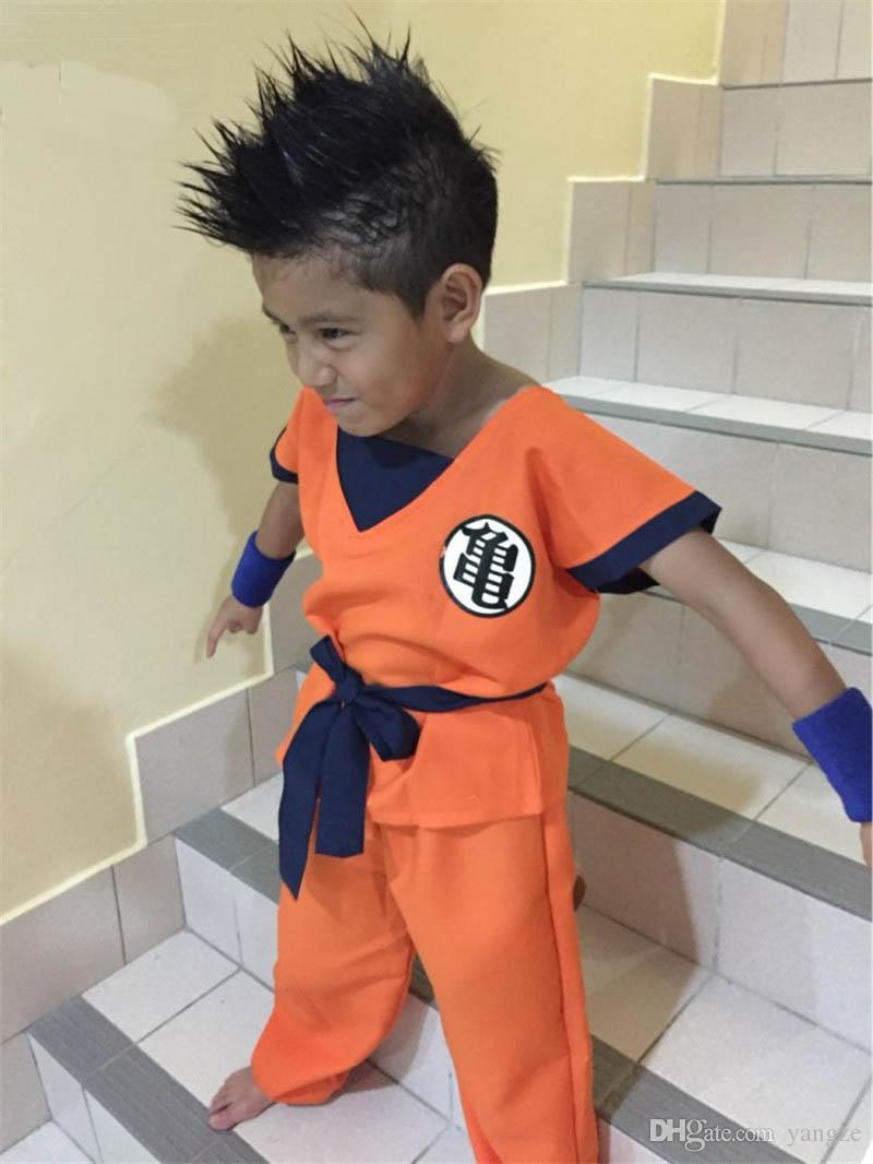 2016 Halloween Costumes Dragon Ball Z DBZ Son Goku Cosplay Costume Clothes Cosplay for Children Top/Pant/Belt/Tail/Wrist CS002