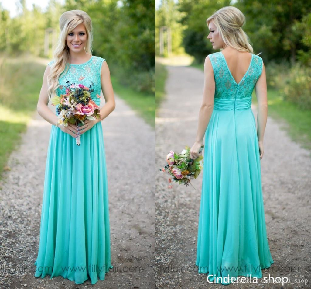 981cc011b52f 2018 Turquoise Bridesmaid Dresses A Line Jewel Neck Floor Length Lace  Chiffon Long Beach Bohemian Garden Wedding Guest Gowns Maid Of Honor Peach  Bridesmaid ...