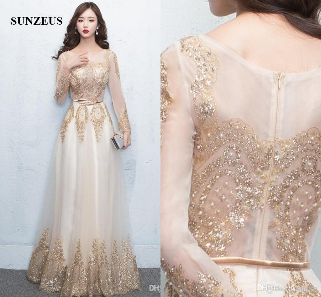 2017 Long Sleeved Evening Dress Gold Sequins Lace Formal Gowns ...
