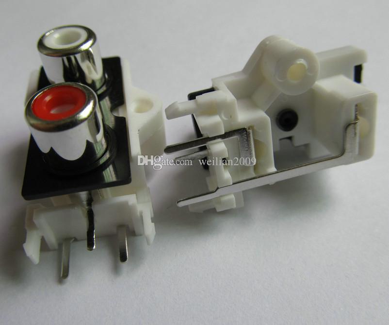 / 1pack Bonne qualité 2 couleurs rouge Blanc 2 pins 2 RCA prise femelle droite audio stéréo Jack audio AV Socket Connector 2 trous