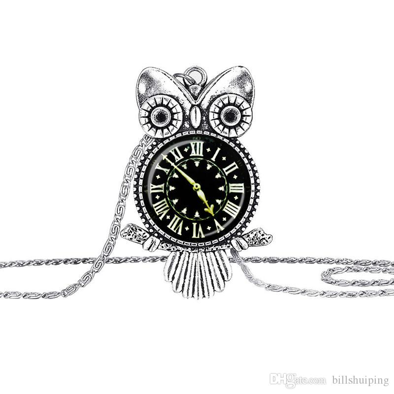 Fashion Vintage Glass Cabochon Owl Pendant Necklace Women Kid baby Antique Silver Chain Necklaces Classic Jewelry hot sale