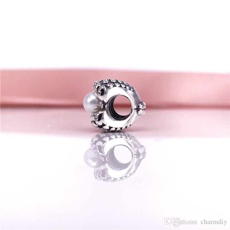 Hurtownie 925 Sterling Silver One Of A Kind Charms Z White Pearl Koraliki Fit Wąż Chain Bracelet DIY Moda Biżuteria