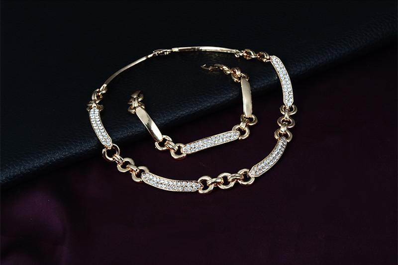 Bracelets Necklaces Earrings Rings Sets Fashion Women Quality Rhinestone 18K Gold Plated Geometric Party Jewelry 4-Piece Set Wholesale JS144