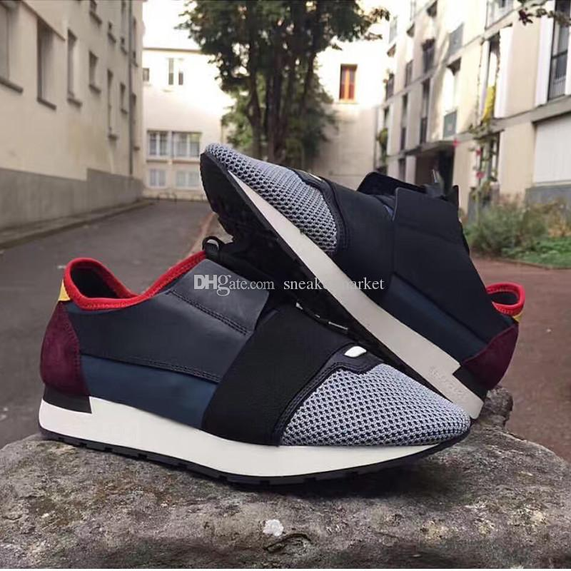 Name Brand Original Box Shoe Man Casual Race Runner Shoes Woman Comfortable Pointed Toe Low Cut New Color Mesh Trainer Shoes Size 35-46