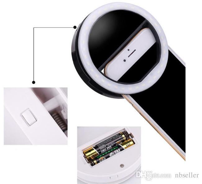 Selfie LED Bague Flash Caméra Caméra Fill Light Photographie Prise de vue en lumière Spotlight Night Shot Lumière pour iPhone Samsung Luminosité réglable