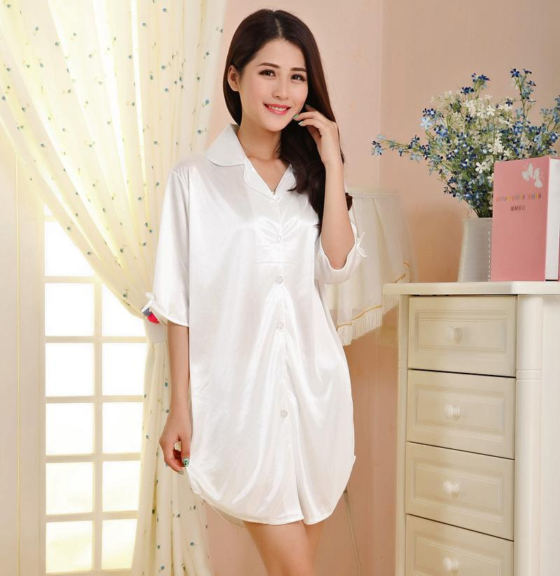 9a22838ccc 2019 Wholesale White Sexy Short Ladies  Faux Silk Robes Summer Women S  Casual Sleepshirt Nightgown Mini Bath Gown Sleepwear S M L XL WR101 From  Stepheen
