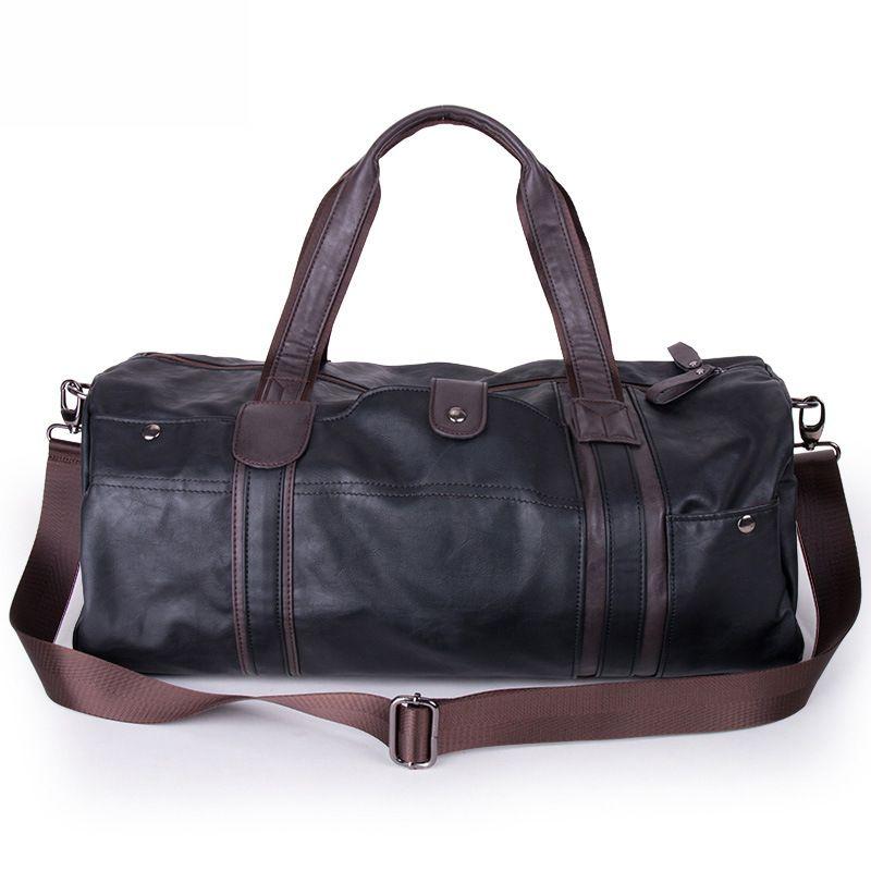 980250579ec0 Wholesale 2016 Men Large Leather Duffle Gym Travel Bags Luggage Handbag  Shoulder Bag High Capacity Cylinder Casual Wholesale Kids Rolling Suitcases  ...
