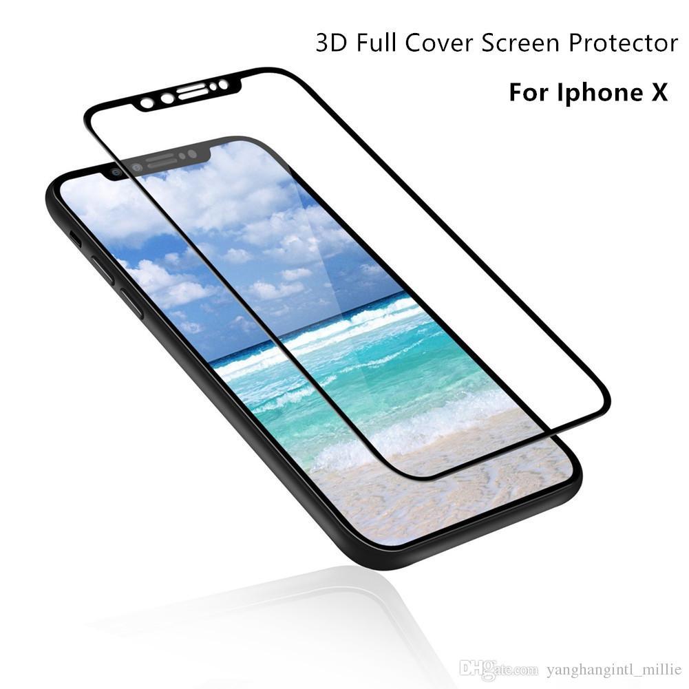 Para iphone x 3d cobertura completa borda macia protetor de tela de vidro temperado de alta qualidade para iphone 6 7 8 plus pacote de espuma de fábrica-yh0309