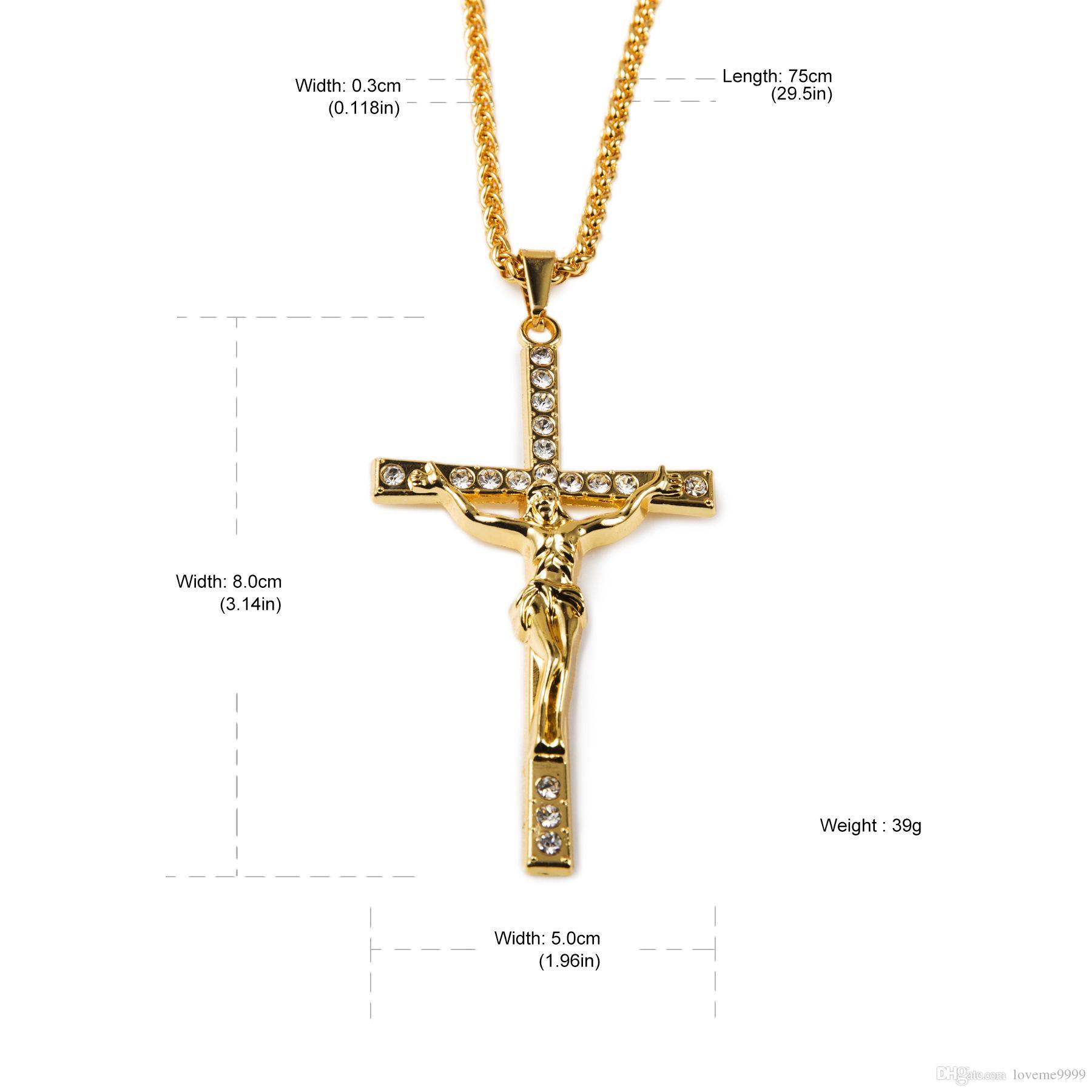 Хип-хоп ожерелье 18k желтое золото покрытием Iced Out Иисус Христос крест подвески цепи ожерелье мужчины женщины хип-хоп ювелирные изделия аксессуар