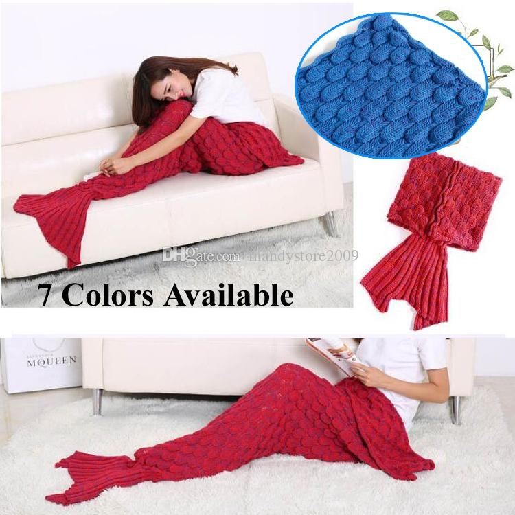 Classical Mermaid Tail Blankets Super Soft Sleeping Bag Hand Crocheted Fish Scale Sofa Blanket Air-condition Blanket Siesta Blankets 195X90