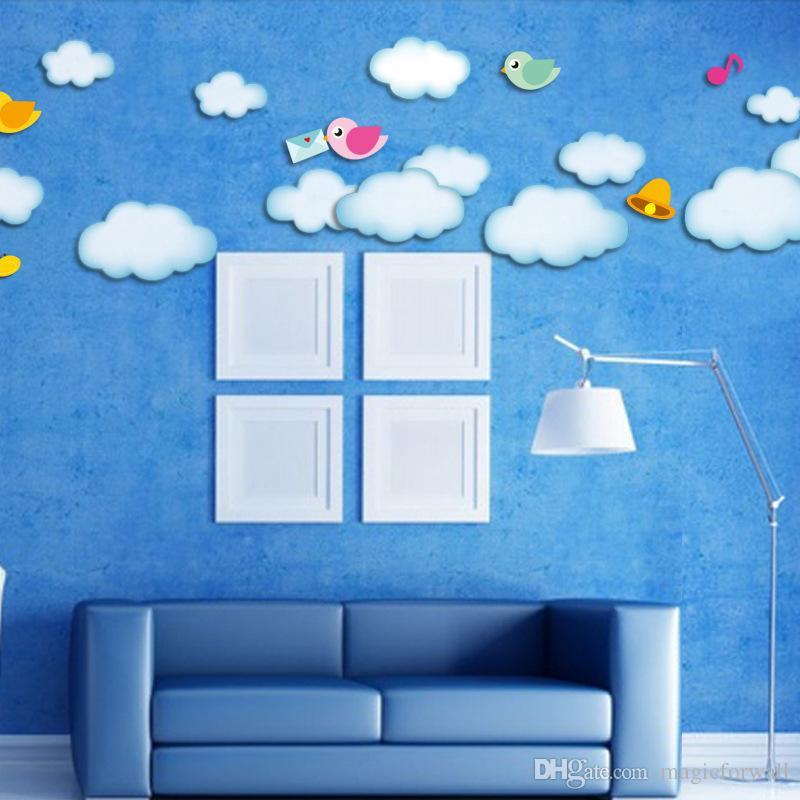 Wall Mural Stickers cartoon blue sky wall decal home decor sun birds butterfly cloud