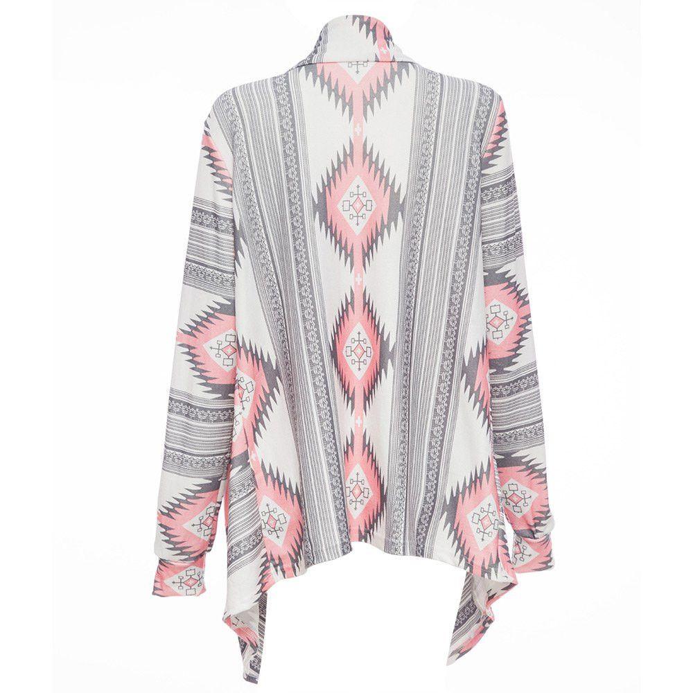 Frauen Tops Mode Lange Strickjacke Weibliche Stilvolle Kragenlose Langarm Strickjacke Tribal Print Asymmetrische Strickjacke Frauen