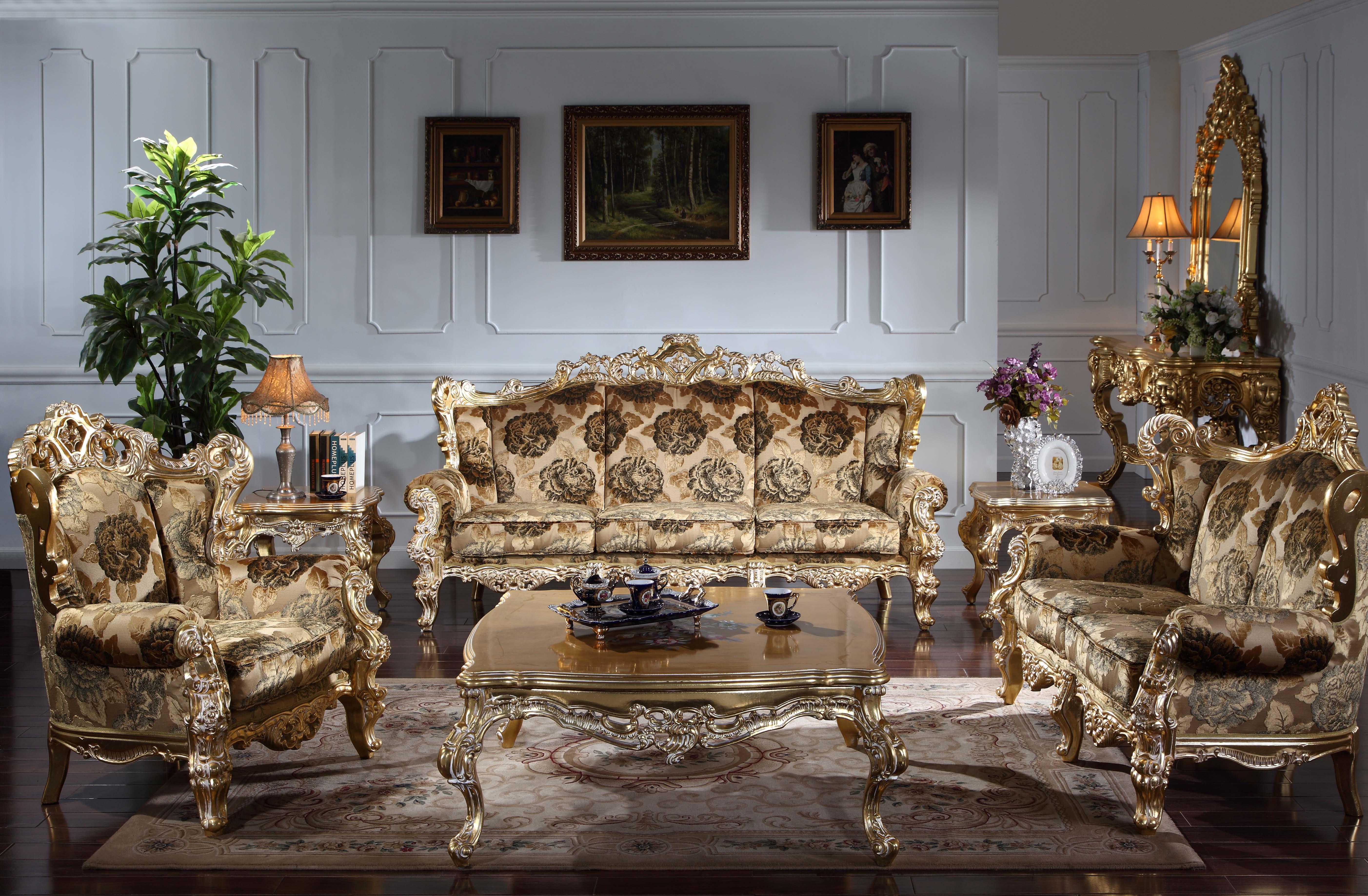 Mobili soggiorno classico barocco - Divano classico europeo con vernice  fessurata - Mobili classici di lusso italiani