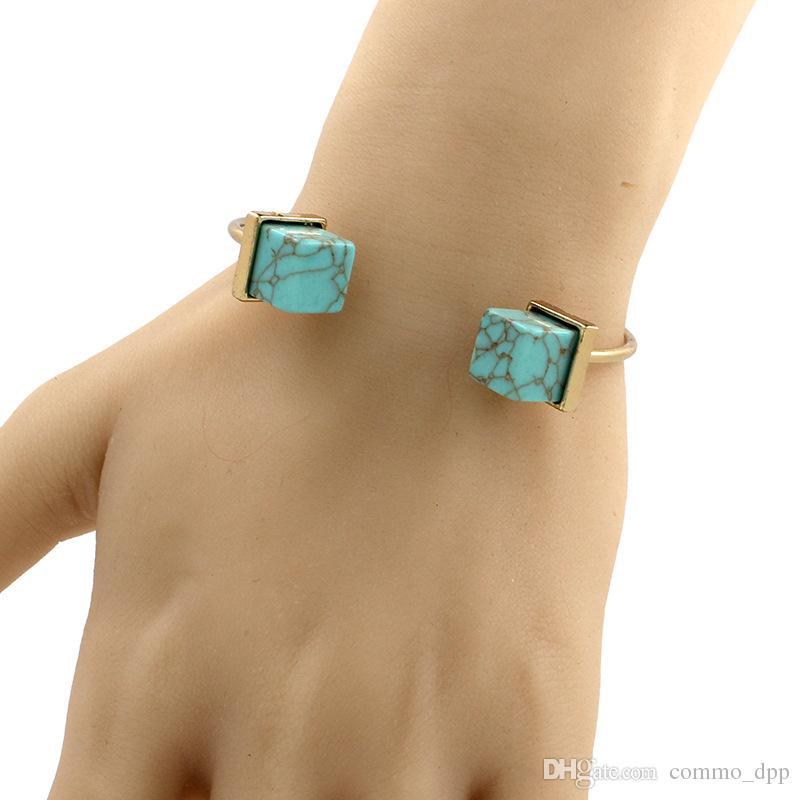 2016 Turquoise Fil Boucle Bracelets De haute qualité femmes réglable Bracelet pour Filles De Mode Bijoux Accessoires Vente chaude