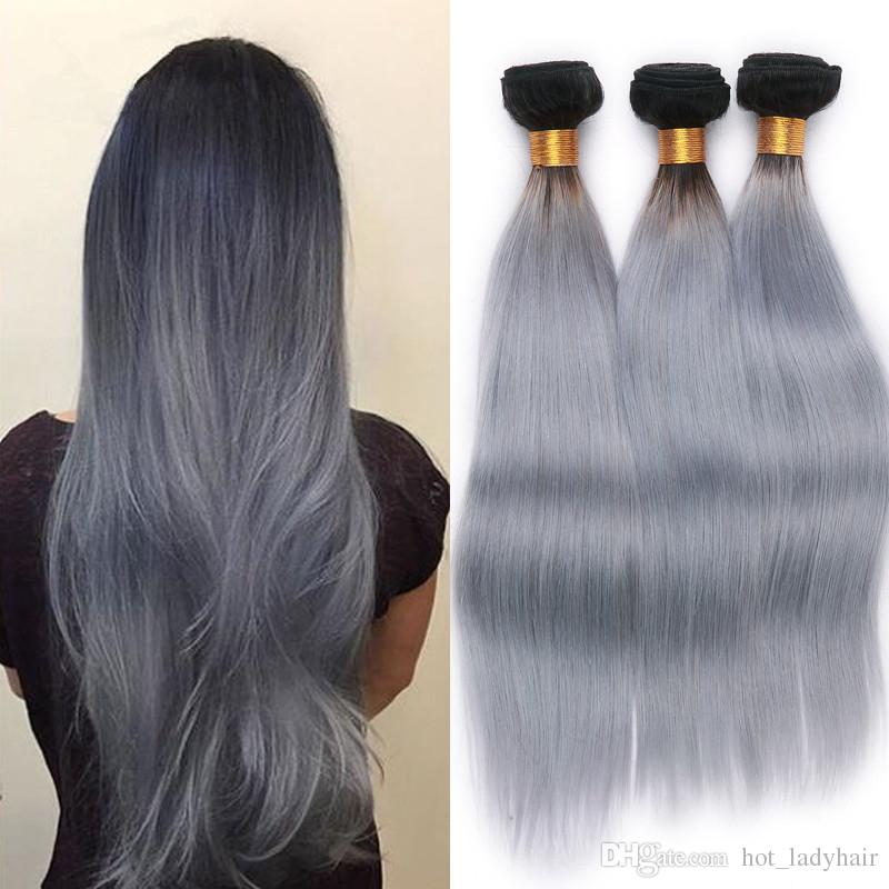 8A Grade Virgin Malaysian Ombre Straight Hair Weave Bundles 1B Grey Ombre Virgin Hair 3Pcs/Lot Silver Grey Human Hair Wefts
