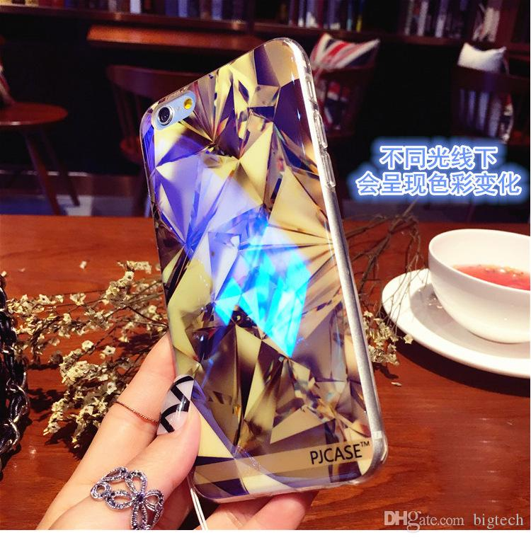wholesale Modern Blue Ray Light Clear Mobile Phone Case for iPhone7 4.7inch for iphone 7Plus 5.5inch Funny Pattern Transparent Cover