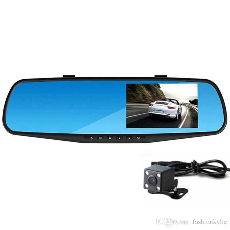 Full HD 1080P Car Dvr Camera Auto 4.3 Inch Rearview Mirror Digital Video Recorder Dual Lens Registratory Camcorder car dvr cameras with box