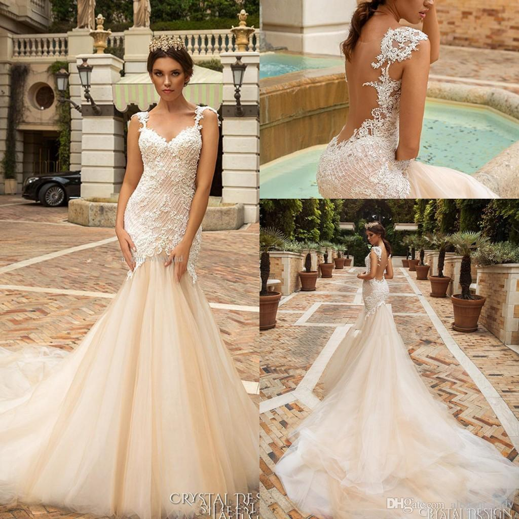 Sheer Back Mermaid Wedding Dresses 2017 Crystal Design Bridal ...