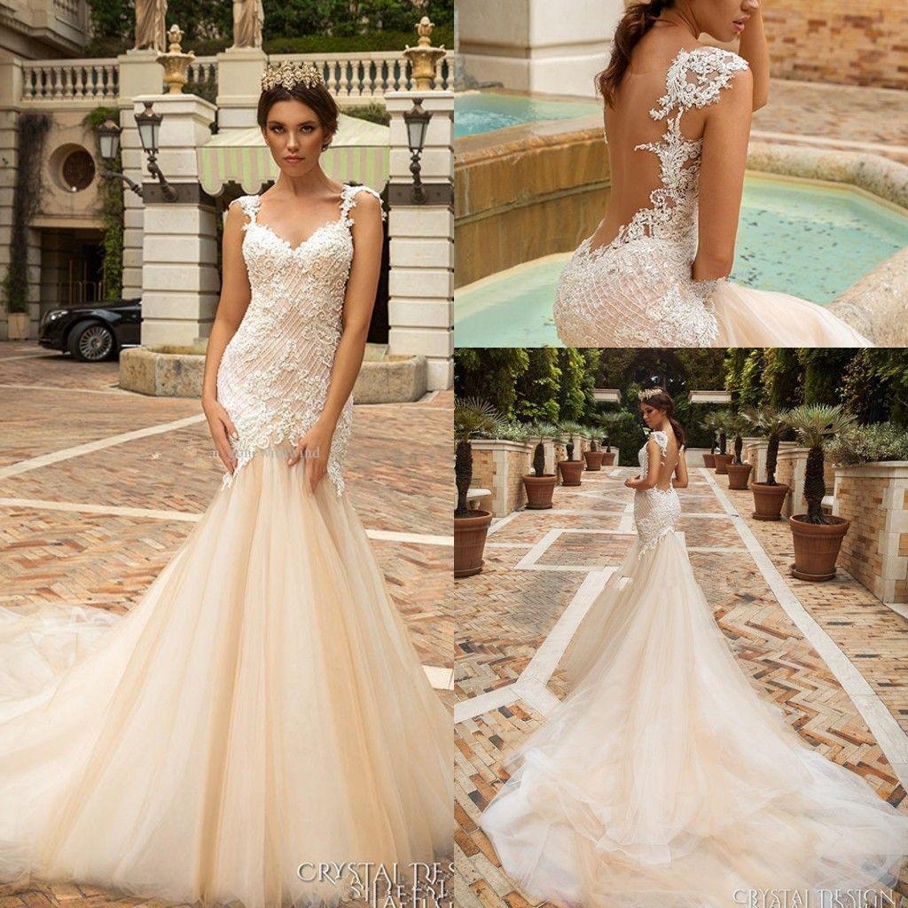 Sheer Back Mermaid Wedding Dresses Crystal Design Bridal