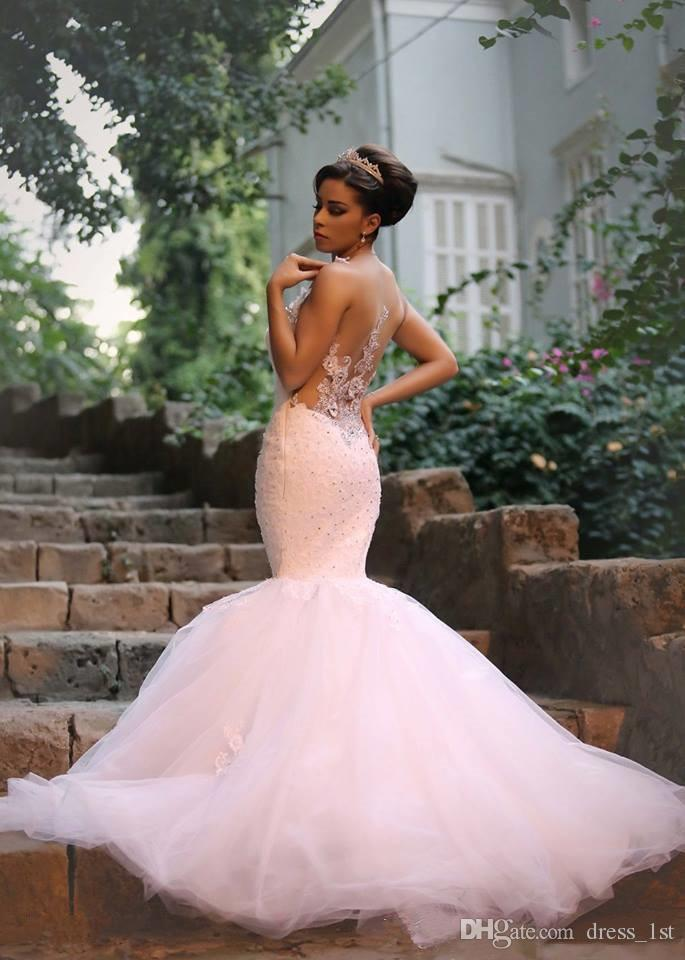 Arabic 2016 Said Mhamad Lace And Tulle Mermaid Wedding Dresses Sexy Illusion Applique Beaded Crystal Long Bridal Gowns Custom Made EN71513