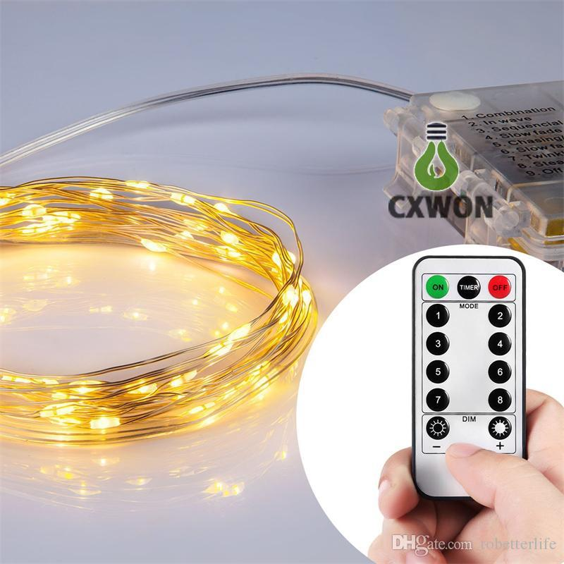 led string lights battery powered remote control copper wire