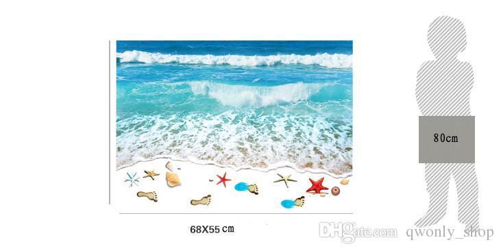 Romantic Sea Beach Floor Sticker 3D Simulation Beach Home Decor Decal for Decoration Bathroom Bedroom Living Room Backdrop Wall Sticker