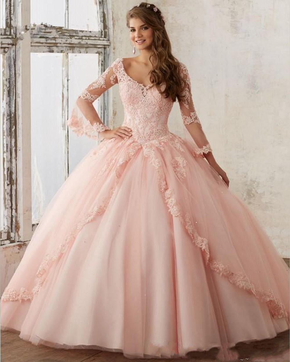 2019 neue langarm baby rosa ballkleid quinceanera kleider v-ausschnitt spitze appliques lange prom sweet 16 prom kleider vestidos de quinceanera 322