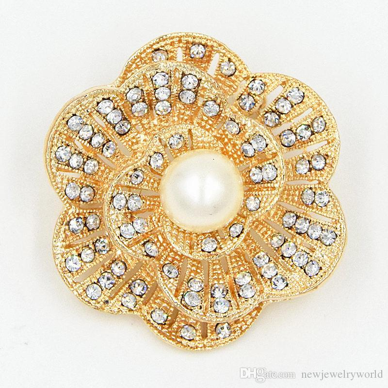 New Design Delicate Diamante Pearl Flower Brooch Hot Selling Cheap Factory Direct Sale Sparkling Gift Women Brooch Pins