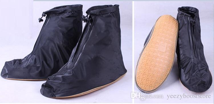 여자 여자 방수 신발 커버 재사용 가능한 지퍼가 달린 방수 신발 커버 고탄력 직물 두꺼운 솔 슬립 내성 무료 배송