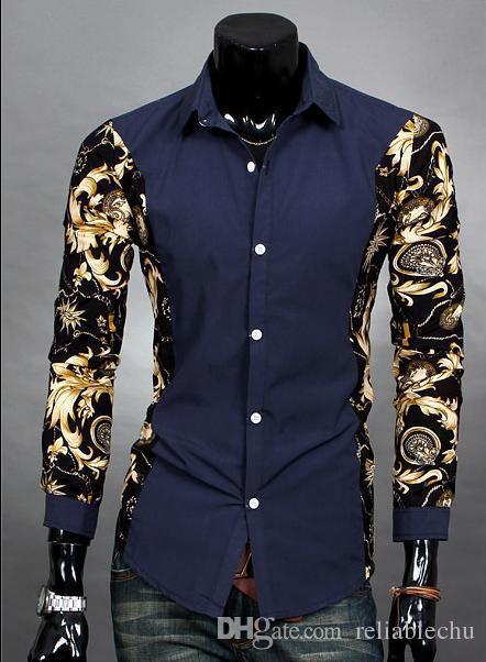 Print Floral Shirt Casual Men Part Print Blumenmuster Design Umlegekragen Langarm Patchwork Männer Businesshemd Freies Verschiffen