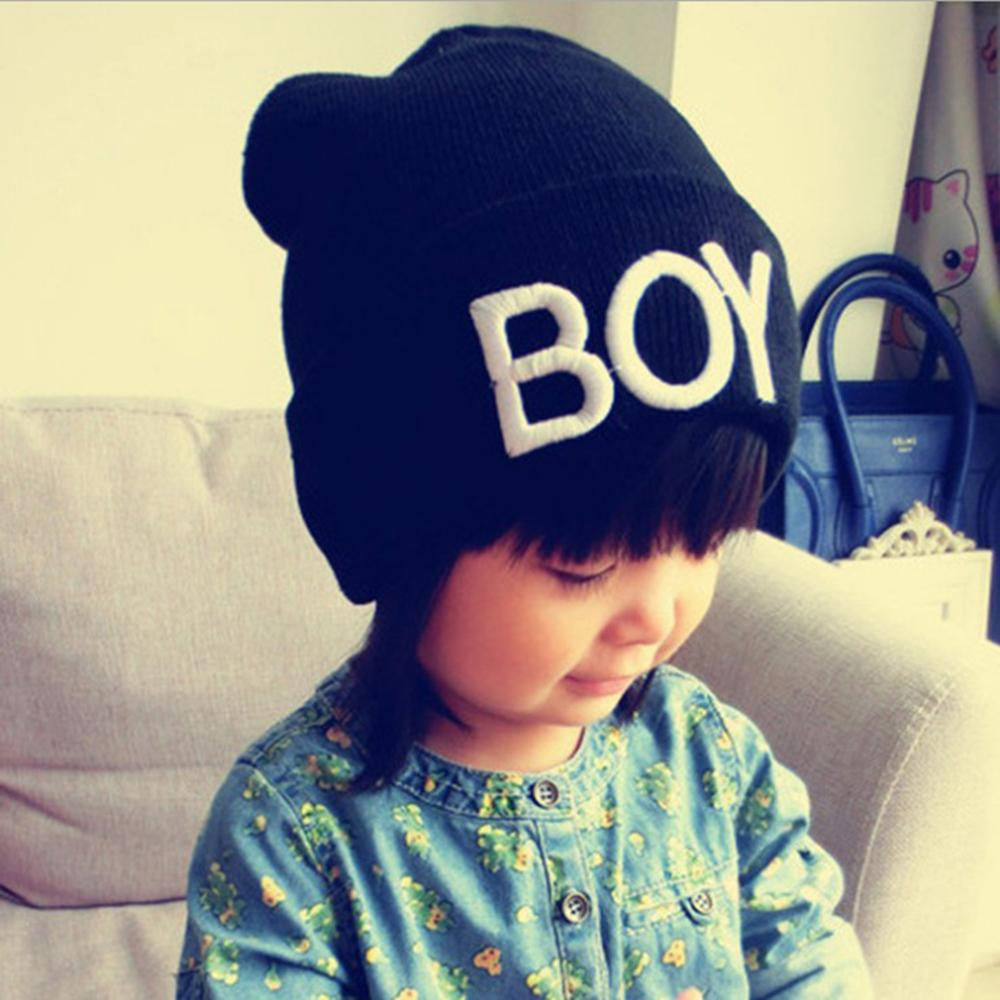 13b0bb3d0ce 2019 Cute Candy Color Cotton Baby Boy Girl Hats Letter Boy Beanie Cap Ski  Hats Knitted Woolen Skull Hats Caps Accessories From Justokay