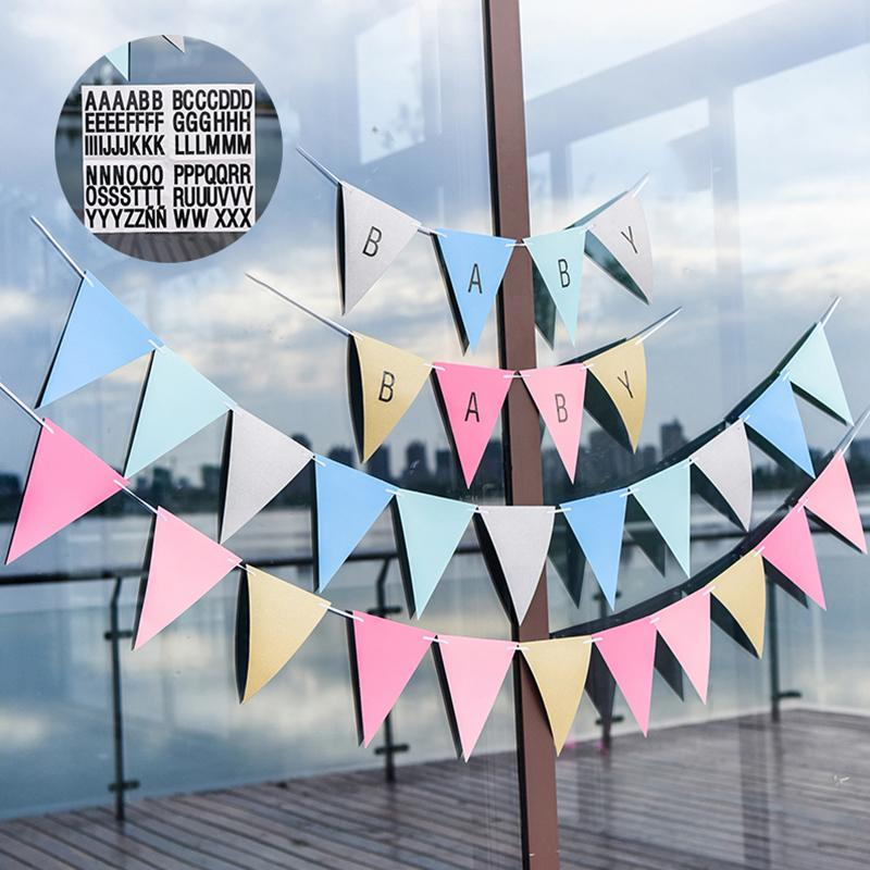 2018 letters alphabet stickers hanging string paper flags and banners birthday baby shower party bunting pennant christmas room home decoration from